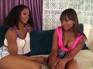 Black Lesbian Pornstar Enjoy A Raunchy Pussy Toying Action